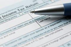 美国联邦所得税回归联邦税务局1040文件 免版税库存照片