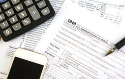 美国联邦所得税回归 免版税库存照片