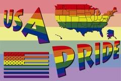 美国自豪感地图和旗子 免版税库存图片