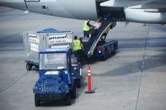 美国航空上载行李的行李管理者在迈阿密国际机场 库存图片