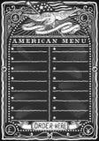 美国菜单的葡萄酒图表黑板 免版税图库摄影