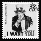 美国葡萄酒显示山姆大叔的邮票 库存图片