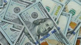 美国被计划在彼此顶部的100美元票据 影视素材