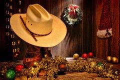 美国西方圈地牛仔帽圣诞卡 免版税库存图片