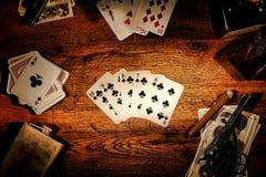 美国西部传奇老扑克牌游戏同花顺 免版税图库摄影