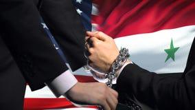 美国认可叙利亚,被束缚的胳膊,政治或者经济冲突 股票录像