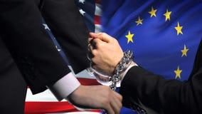 美国认可欧盟,被束缚的胳膊,政治或者经济冲突 影视素材