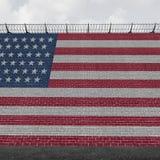 美国边界墙壁 库存例证