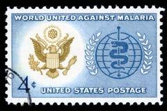 美国邮票世界团结反对疟疾 库存照片