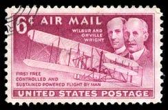 美国邮票莱特兄弟第一班飞行 库存图片