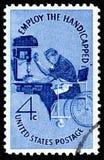 美国邮票陈列雇用残疾人 免版税库存照片