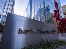 美国银行现代办公室buidlings在俄克拉何马市-俄克拉何马市-俄克拉何马- 2017年10月18日 免版税库存照片