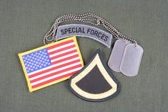 美国陆军一等兵茂盛的补丁、特种部队选项、旗子补丁和卡箍标记在橄榄色的gree 免版税库存照片
