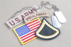美国陆军一等兵茂盛的补丁、特种部队选项、旗子补丁和卡箍标记 库存图片