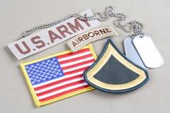 美国陆军一等兵茂盛的补丁、空中选项、旗子补丁和卡箍标记 免版税库存照片