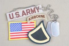 美国陆军一等兵茂盛的补丁、空中选项、旗子补丁和卡箍标记 免版税库存图片