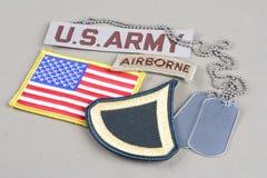 美国陆军一等兵茂盛的补丁、空中选项、旗子补丁和卡箍标记 图库摄影