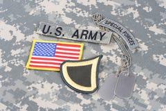 美国陆军一等兵茂盛的补丁,特种部队选项,旗子补丁,与在camoufla的卡箍标记 库存图片