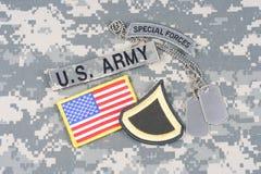 美国陆军一等兵茂盛的补丁,特种部队选项,旗子补丁,与在camoufla的卡箍标记 库存照片