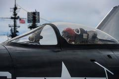 美国陆军军事试验准备从海军航空母舰离开 免版税库存图片