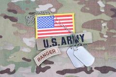 美国陆军别动队员选项,旗子补丁,与卡箍标记 免版税库存照片