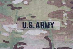 美国陆军在伪装制服的分支磁带 免版税库存照片