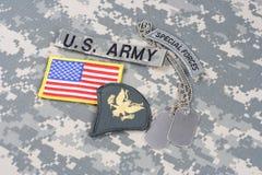 美国陆军在伪装制服的特种部队权威 库存图片