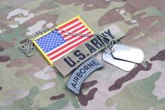 美国陆军空中选项,旗子补丁,与卡箍标记 免版税库存照片