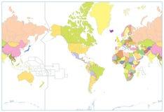 美国集中了在白色隔绝的政治世界地图 没有文本 库存照片