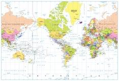 美国集中了在白色隔绝的政治世界地图 库存照片