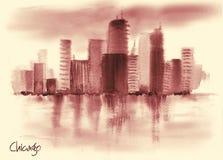 美国风景的手拉的水彩图画 免版税库存图片