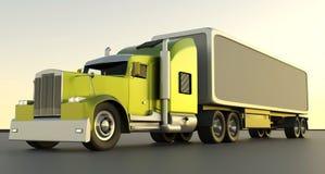 美国风格的红色卡车 有货物拖车的半卡车 3d烈 皇族释放例证