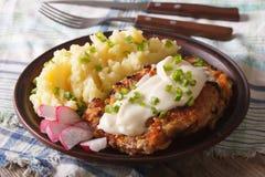 美国食物:国家油煎了牛排和白色小汤特写镜头hori 免版税库存图片