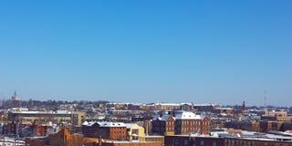 美国首都冬天风景在雪风暴以后的 免版税库存照片