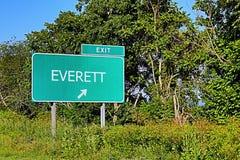 美国高速公路埃弗里特的出口标志 免版税库存图片