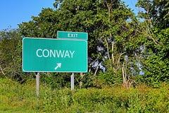 美国高速公路康威的出口标志 免版税库存照片