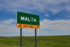 美国高速公路马耳他的出口标志 库存照片