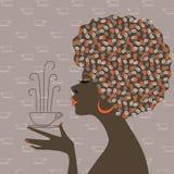 美国黑人的咖啡作妇女 免版税库存照片