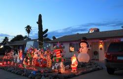 美国,亚利桑那:前院圣诞灯 免版税库存图片