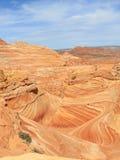 美国,亚利桑那/土狼小山:与足迹风景的波浪 免版税图库摄影