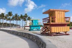 美国,佛罗里达,迈阿密 2018年2月18日 在col的救生员塔 免版税库存图片