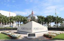 美国,佛罗里达:在迈阿密货物口岸的入口纪念品 库存照片