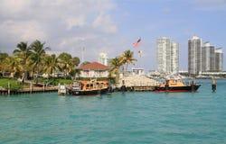 美国,佛罗里达/迈阿密:比斯坎湾领航船驻地/小船 库存照片