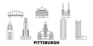 美国,匹兹堡线旅行地平线集合 美国,匹兹堡概述城市传染媒介例证,标志 库存例证