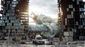 美国,美国的默示录 看法被毁坏的纽约,自由女神象 默示录概念 3d翻译 免版税图库摄影