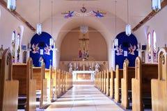 美国, AZ/Miami :老天主教-教堂中殿,圣坛 免版税库存图片