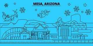 美国,Mesa寒假地平线 圣诞快乐,新年快乐装饰了与圣诞老人的横幅 团结 库存例证