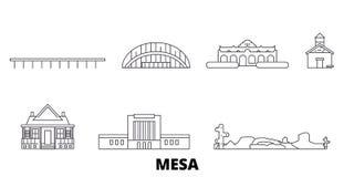 美国,Mesa线旅行地平线集合 美国,Mesa概述城市传染媒介例证,标志,旅行视域 向量例证