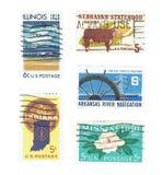 美国:伊利诺伊,内布拉斯加使用的邮票  印第安纳、阿肯色和密西西比 免版税库存图片