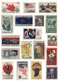 美国20世纪60年代邮票拼贴画 免版税库存照片